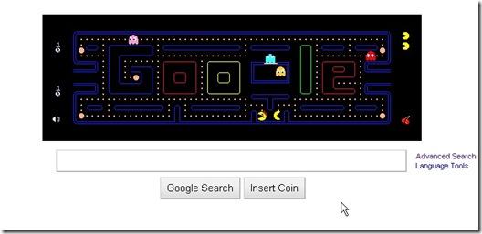 Google pac man Doodle  On google homepage