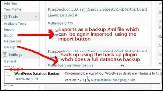 wordpress simple and full database backup