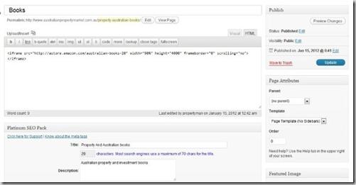 wordpress theme settings to integrate amazon code html into website or blog