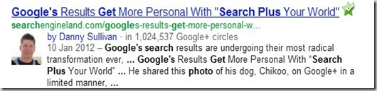 google   profile pic showing in google search results