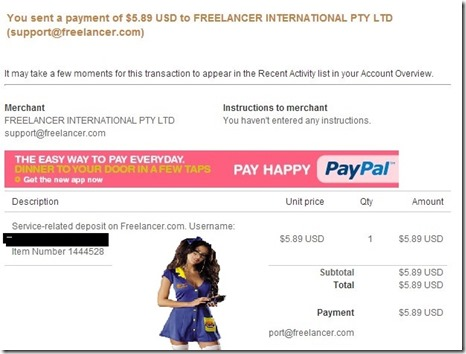 the rip off from my paypal account by freelancer