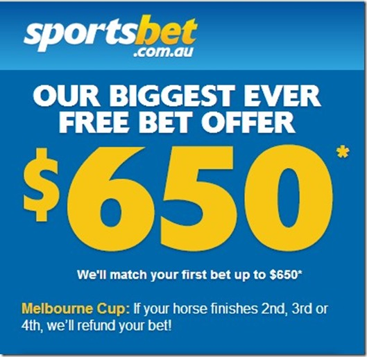sporstbet $650 offer for melbounre cup  online betting
