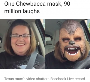 viral video chewbaca mum mask