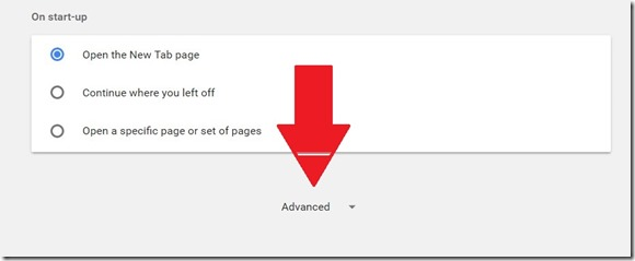 1 advanced button in chrome