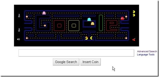 Google pac man Doodle  On google homepage