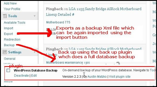 wordpress simple and full database backup