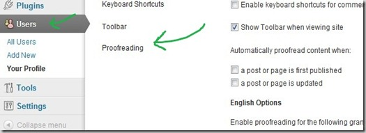 wordpress proof reading feature
