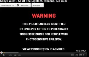 Kanye west video warning harmful video all of the lights
