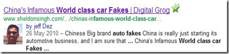 fake chinese cars and seo authorship google   search results