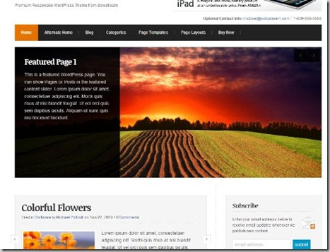 wp radiance new solostream wordpress theme