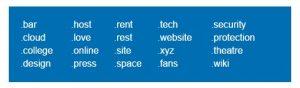 new gltd extensions fo domainnames
