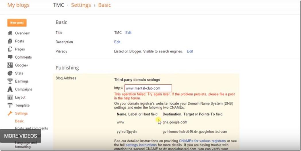 blog settings in blogger